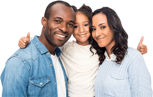 credit repair happy family dad, daughter and mom